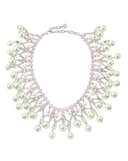 Pearly Crystal Tiered Collar Necklace, Pink