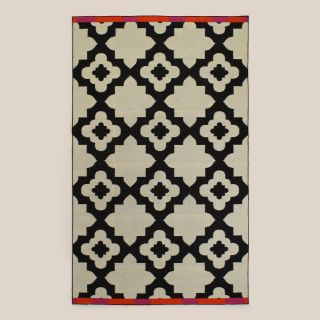 Pink Orange Bordered Flat Woven Indoor Outdoor Rugs   World Market