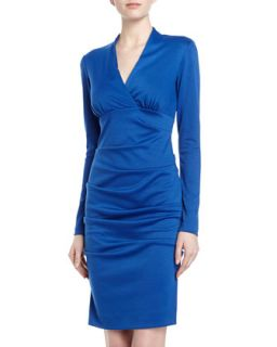 Long Sleeve Tucked Ponte Sheath Dress, Royal