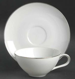 Style House Platinum Ring Flat Cup & Saucer Set, Fine China Dinnerware   White,