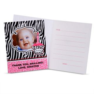 Diva Zebra Print 1st Birthday Personalized Thank You Notes