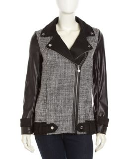 Tweed Faux Leather Zip Moto Jacket, Black