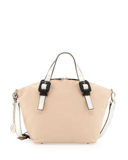 Jinx Leather Domed Top Convertible Satchel/Shoulder Bag, Blush